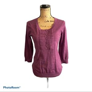 Boden Sweater Purple Pleated Collar Size 8